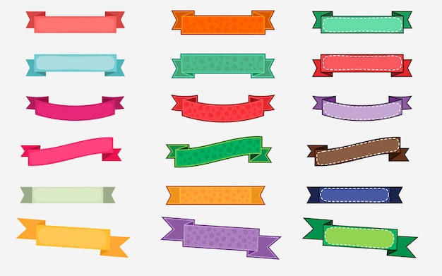Jeu de rubans de vecteur coloré de style différent Vecteur Premium