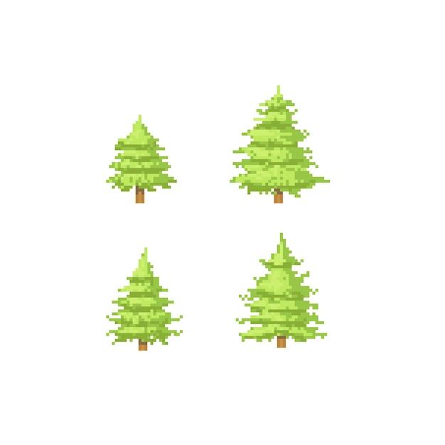 Jeu De Sapin De Noël Pixel Télécharger Des Vecteurs Premium