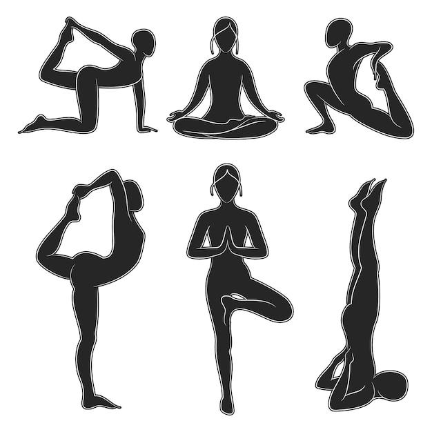 Jeu de silhouette de yoga pilates populaire Vecteur Premium