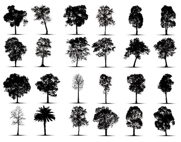 Jeu de silhouettes d'arbres Vecteur Premium
