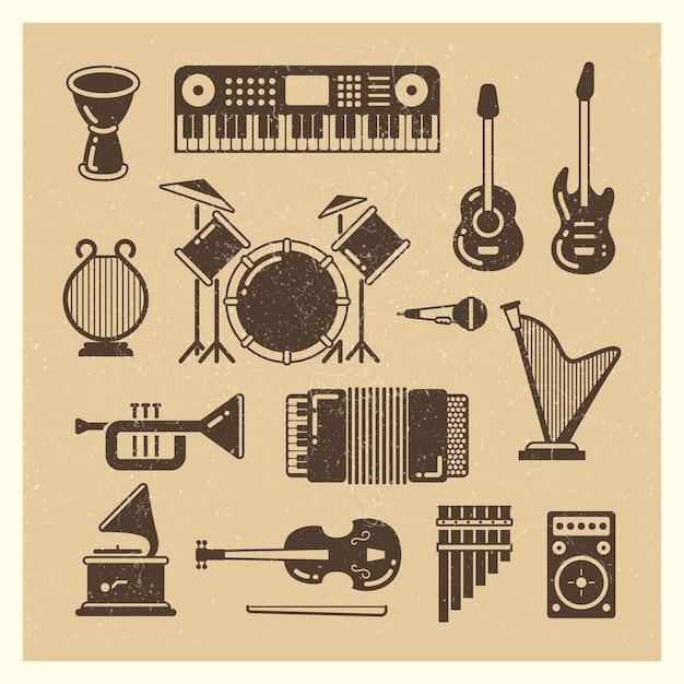 Jeu De Silhouettes Grunge Instruments De Musique Classique Vecteur Premium