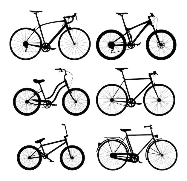 Jeu De Silhouettes De Vélos Vecteur Premium