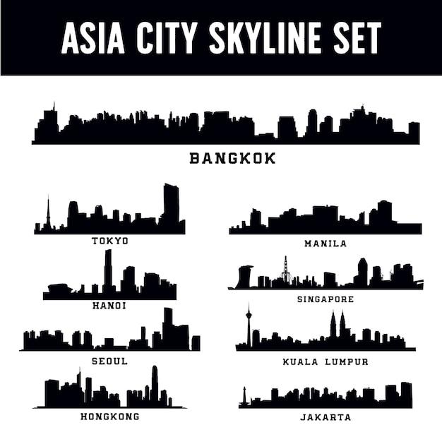 Jeu de skyline de la ville d'asie Vecteur Premium