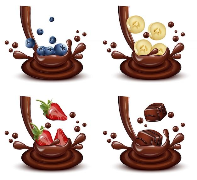 Jeu de splash chocolat avec mélange de fruits différents vector réaliste Vecteur Premium