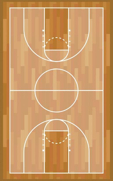 Jeu De Sport Sur Terrain De Basket En Bois Vecteur gratuit
