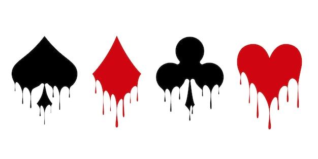 Jeu de symboles de cartes pour jouer au poker et au casino. Vecteur Premium