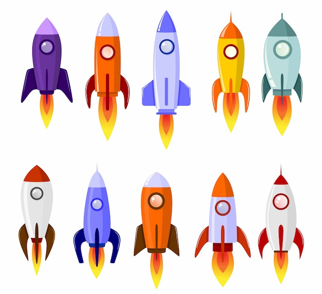 Jeu De Symboles De Lancement De Fusée Spatiale Vecteur Premium