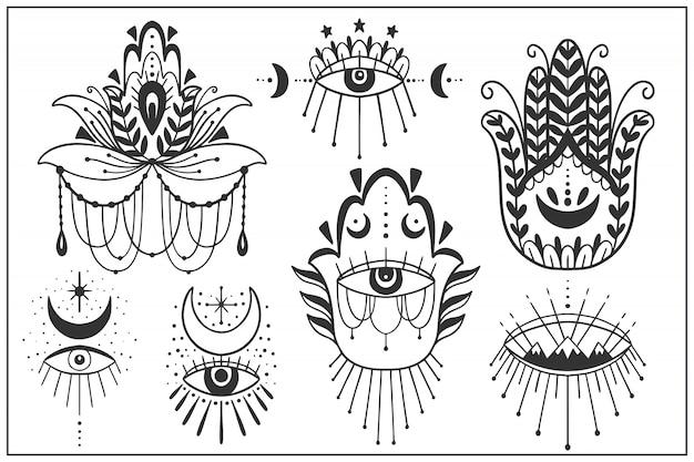 Jeu De Symboles Pour L'œil Maléfique Vecteur Premium