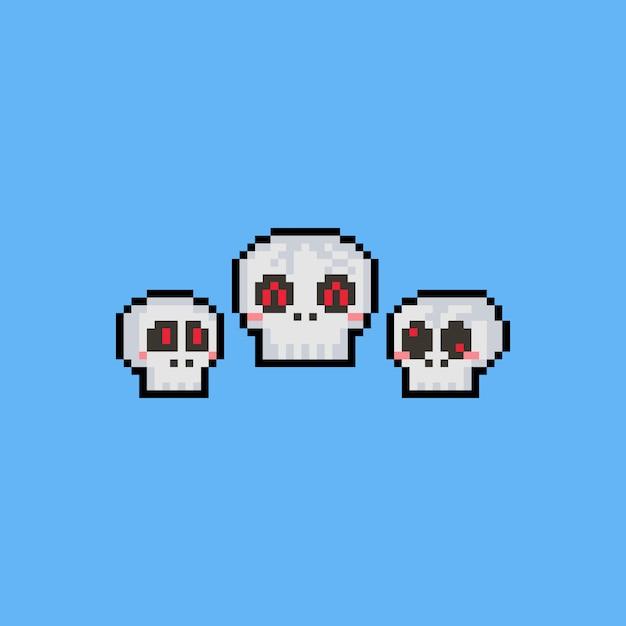 Jeu De Tête De Crâne De Dessin Animé Pixel Art Télécharger
