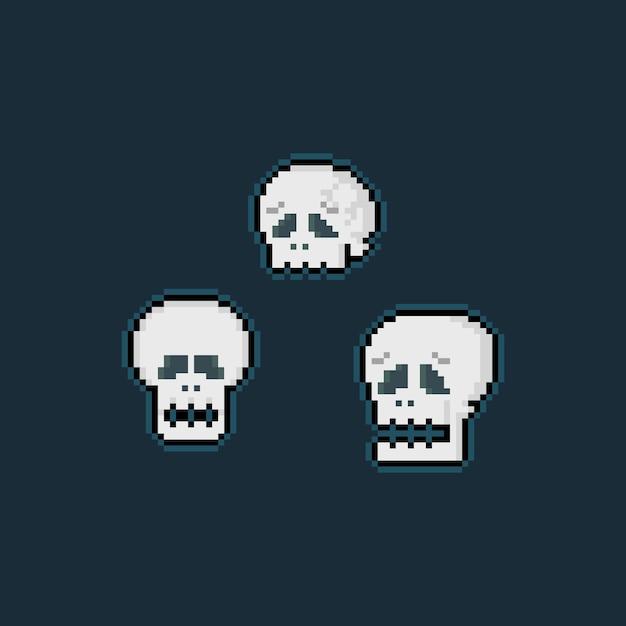 Jeu De Tête De Crâne Triste De Dessin Animé Pixel Art. Vecteur Premium