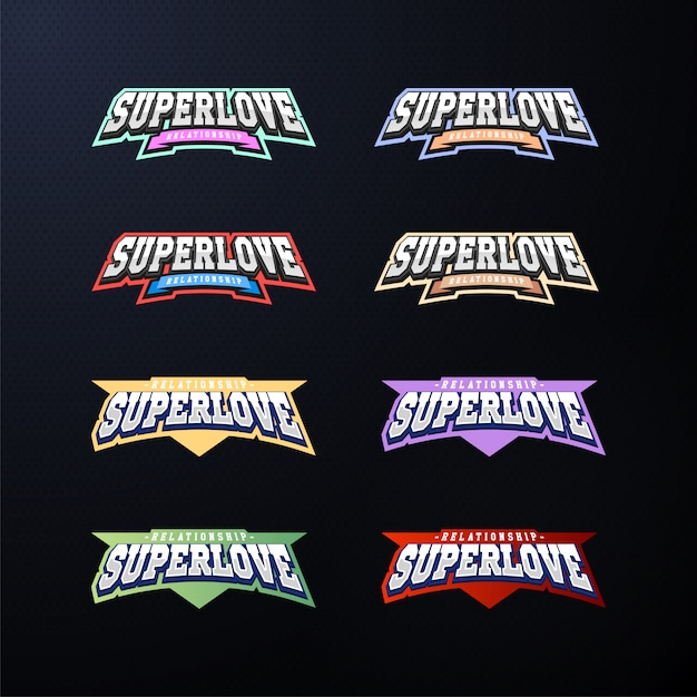 Jeu de typographie emblème sport. Vecteur Premium