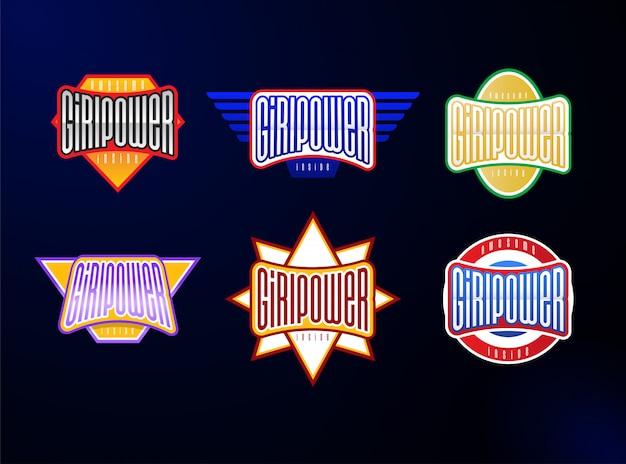 Jeu de typographie emblème sport Vecteur Premium