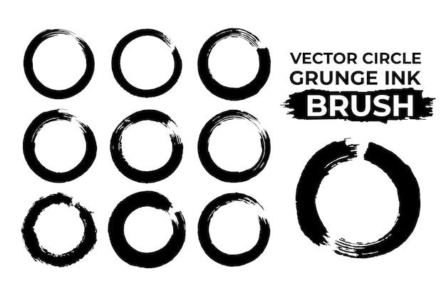 Jeu de vecteur brosse enso encre sèche cercle grunge Vecteur Premium