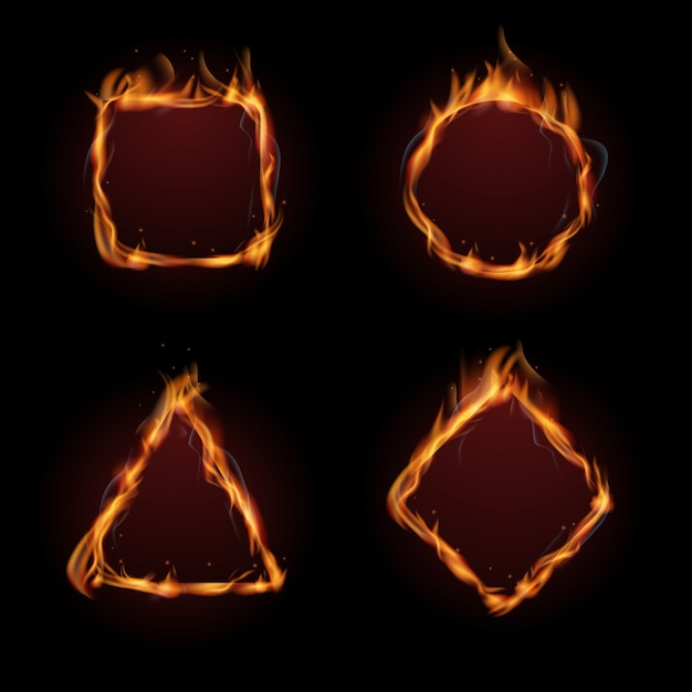 Jeu de vecteur cadre feu flamme chaude Vecteur Premium