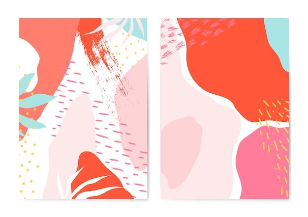 Jeu de vecteur de cartes de style coloré memphis Vecteur gratuit
