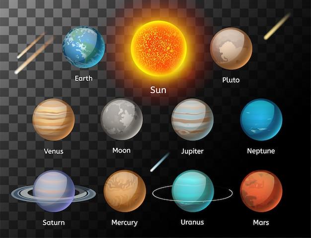 Jeu de vecteur coloré de planètes Vecteur Premium