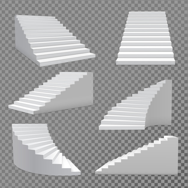 Jeu de vecteur d'escaliers Vecteur Premium