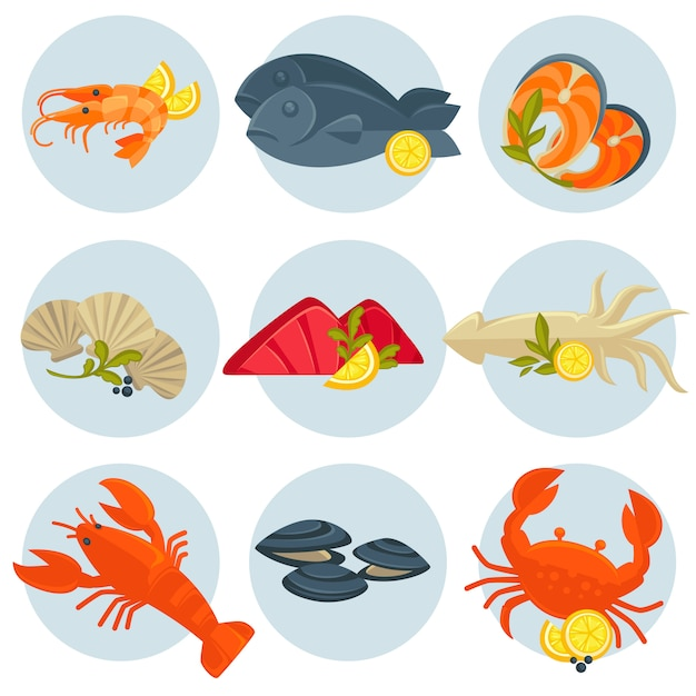 Jeu de vecteur de fruits de mer. design plat Vecteur Premium