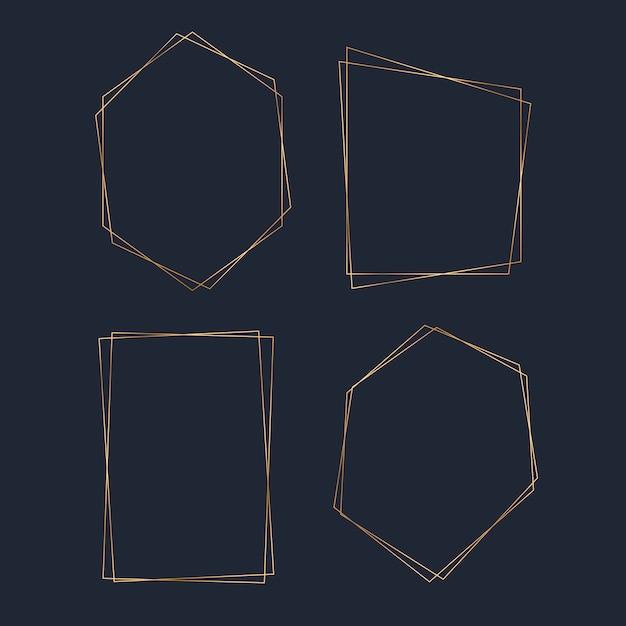 Jeu de vecteur d'image polygone blanc doré Vecteur gratuit
