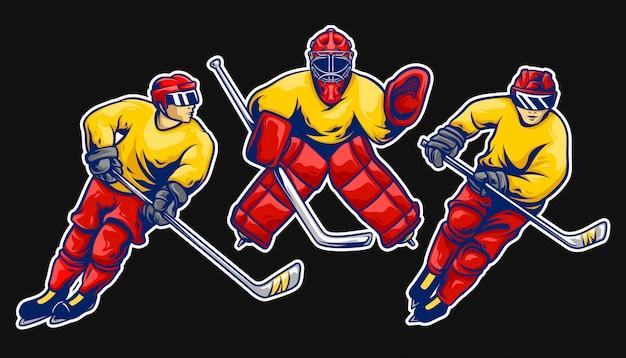 Jeu de vecteur de joueur de hockey sur glace Vecteur Premium