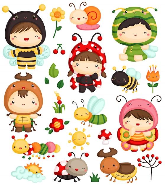 Jeu de vecteur pour enfants et insectes Vecteur Premium