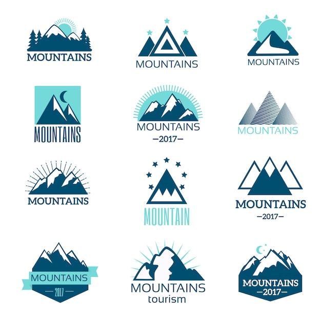 Jeu de vecteur de symbole de montagne Vecteur Premium