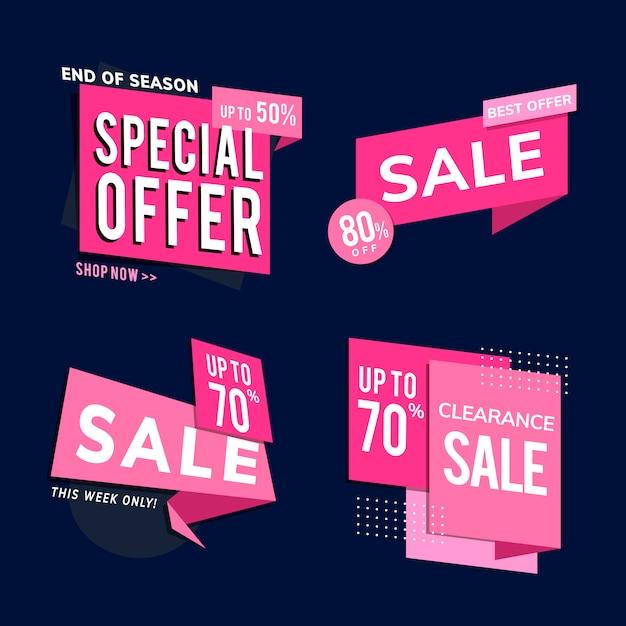 Jeu de vente annonces de promotion de vente Vecteur gratuit