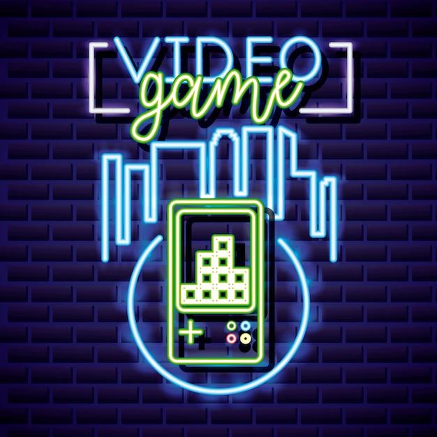 Jeu Vidéo Et Skyline Avec Le Jeu Vidéo Style Neon Vecteur gratuit