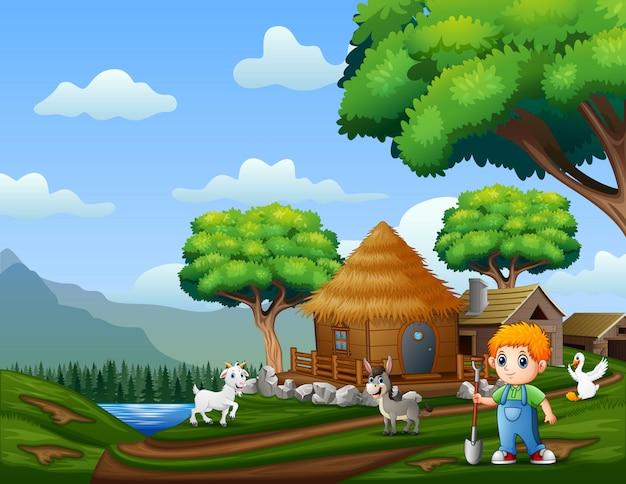 Jeune Agriculteur Avec Des Animaux Sur Les Terres Agricoles Vecteur Premium