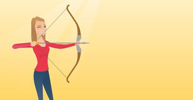 Jeune archer caucasien s'entraînant avec un arc Vecteur Premium