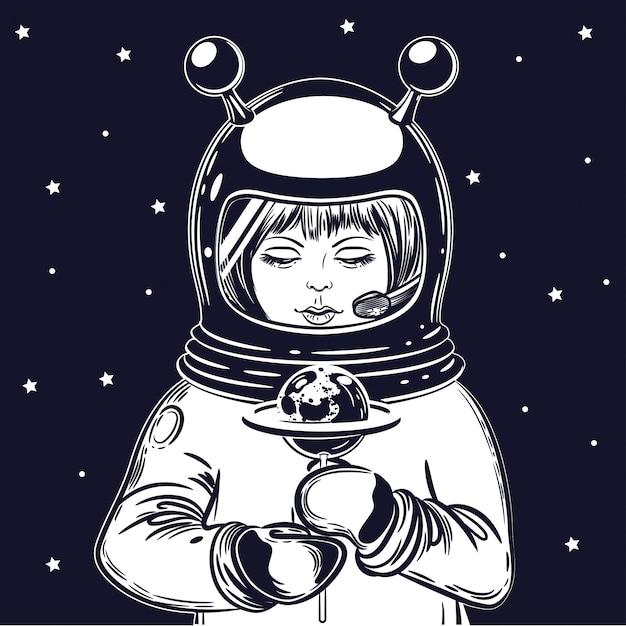La jeune astronaute tient une sucette Vecteur Premium