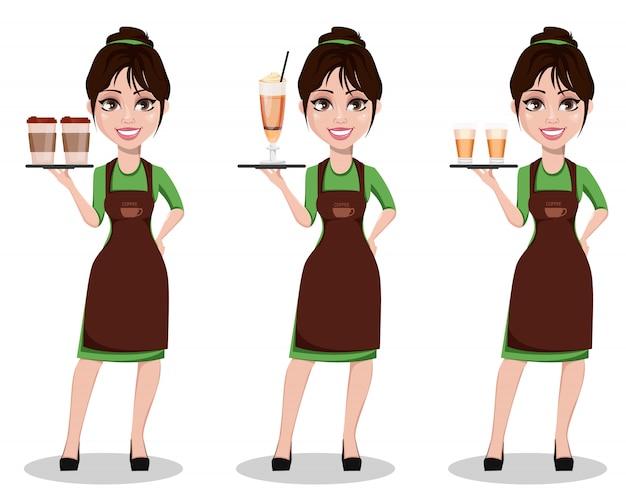 Jeune belle barista féminine Vecteur Premium