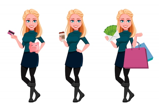 Jeune belle femme d'affaires ensemble de trois poses Vecteur Premium
