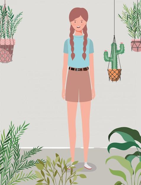 Jeune et belle fille dans le caractère du jardin Vecteur Premium