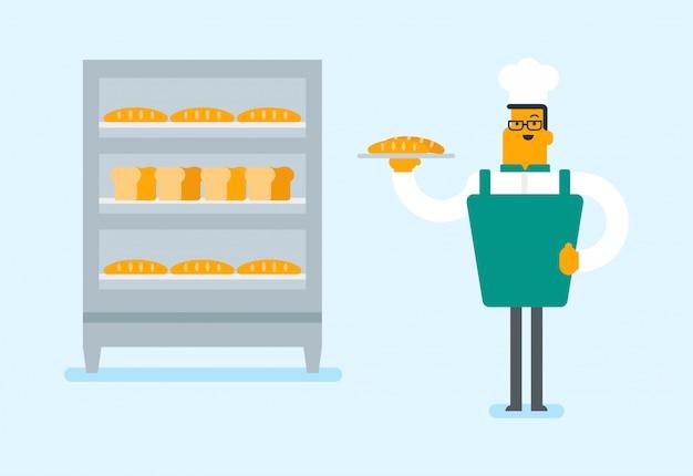 Jeune boulanger caucasien tenant un plateau avec du pain. Vecteur Premium