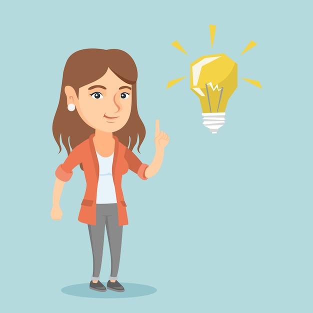 Jeune, Caucasien, étudiant, Pointage, Idée, Ampoule Vecteur Premium