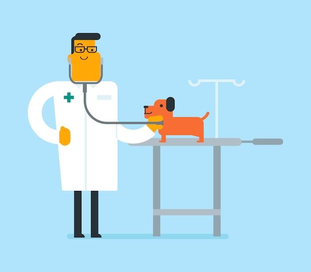 Jeune chien examen vétérinaire blanc caucasien. Vecteur Premium