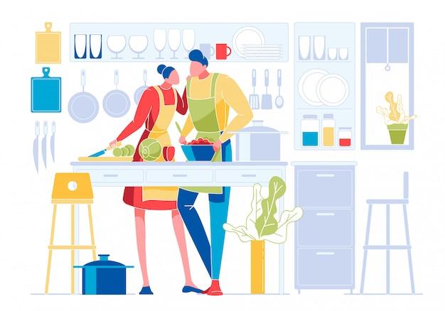 Jeune couple amoureux, cuisine ensemble dans la cuisine Vecteur Premium