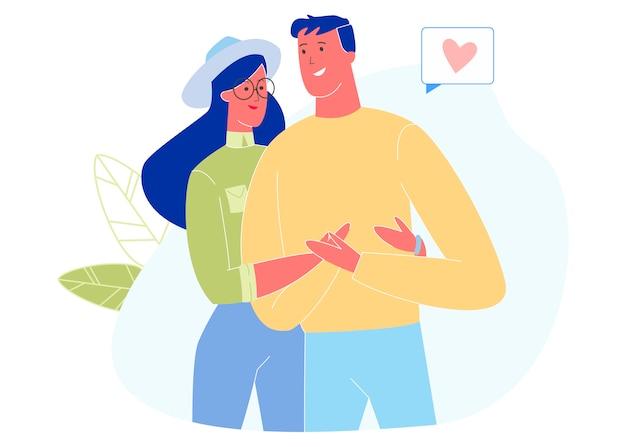 Jeune Couple Amoureux S'embrassant, Relation Vecteur Premium