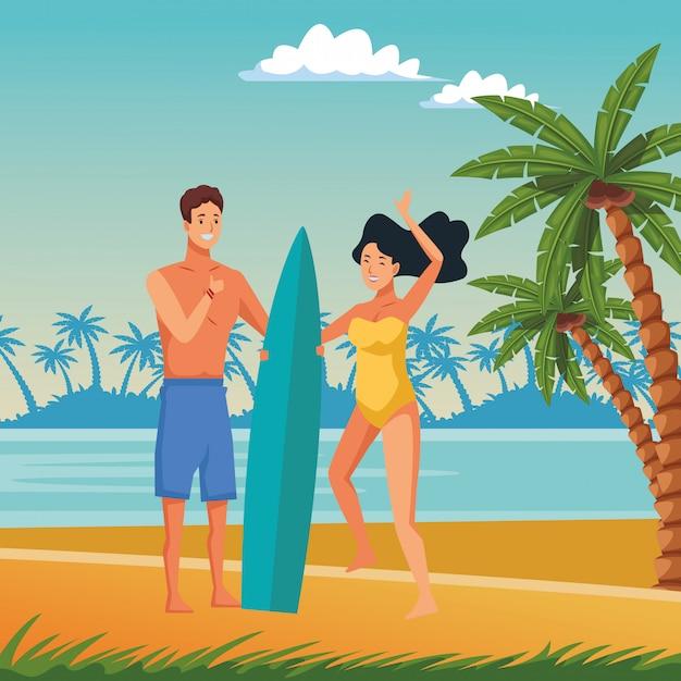 Jeune couple en appréciant les dessins animés de l'été Vecteur gratuit