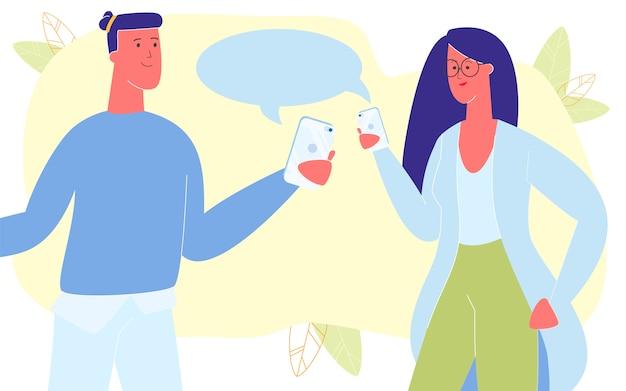 Jeune couple, communication, par, smartphones, chat Vecteur Premium