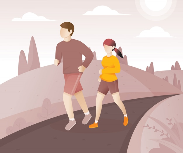 Jeune couple courir dans le parc Vecteur Premium