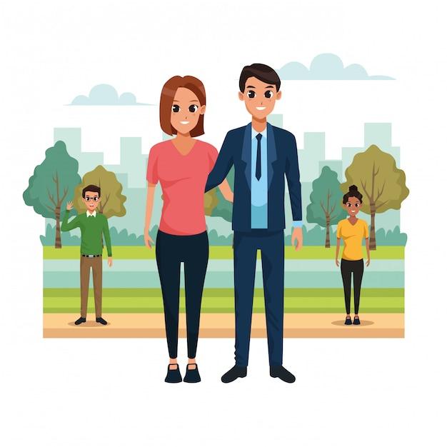 Jeune couple dans le paysage du parc Vecteur gratuit