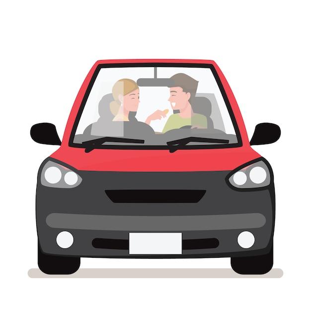 Jeune couple dans sa voiture, heureux de conduire sur une route Vecteur Premium