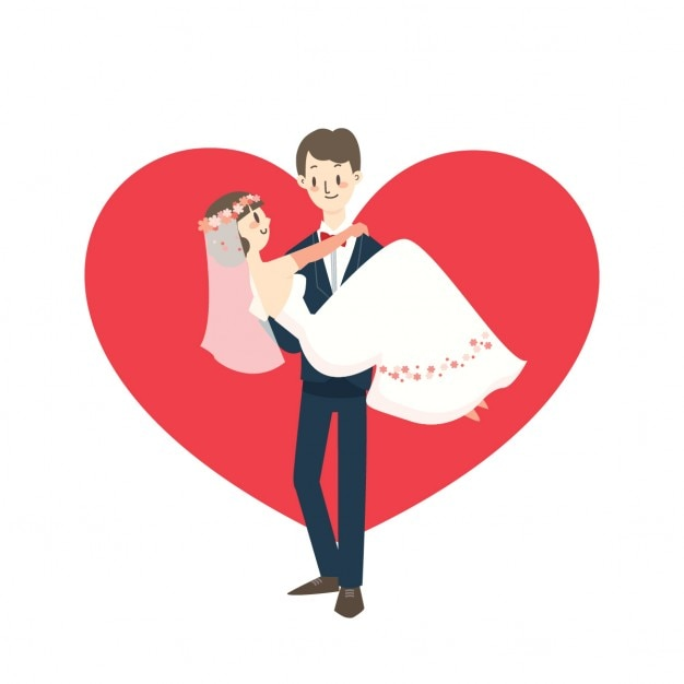 jeune couple de mariage mari portant mari e dessin anim. Black Bedroom Furniture Sets. Home Design Ideas