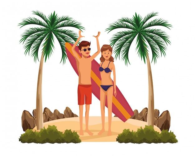 Jeune couple avec dessin animé de table de surf Vecteur gratuit