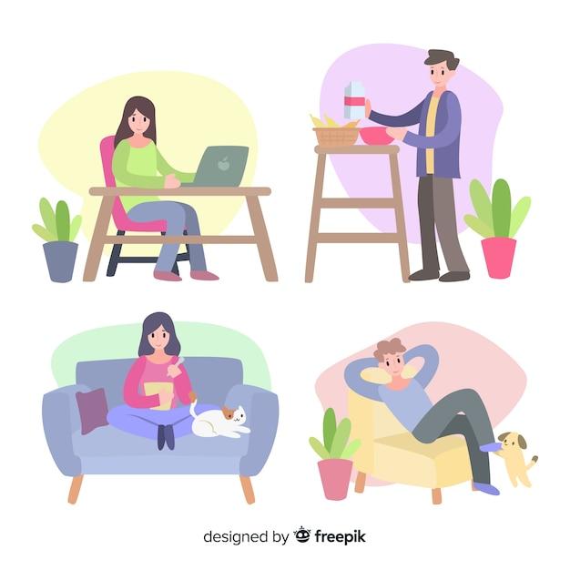 Jeune couple faisant des activités à la maison Vecteur gratuit