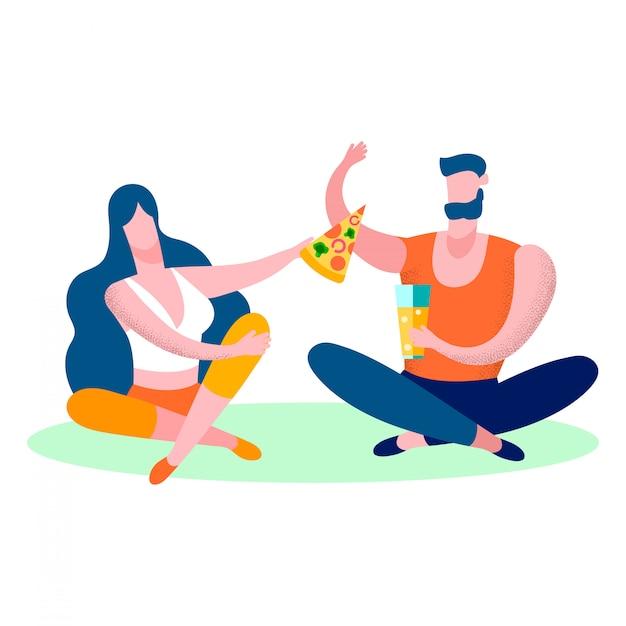 Jeune couple, manger, pizza, plat, illustration vectorielle Vecteur Premium