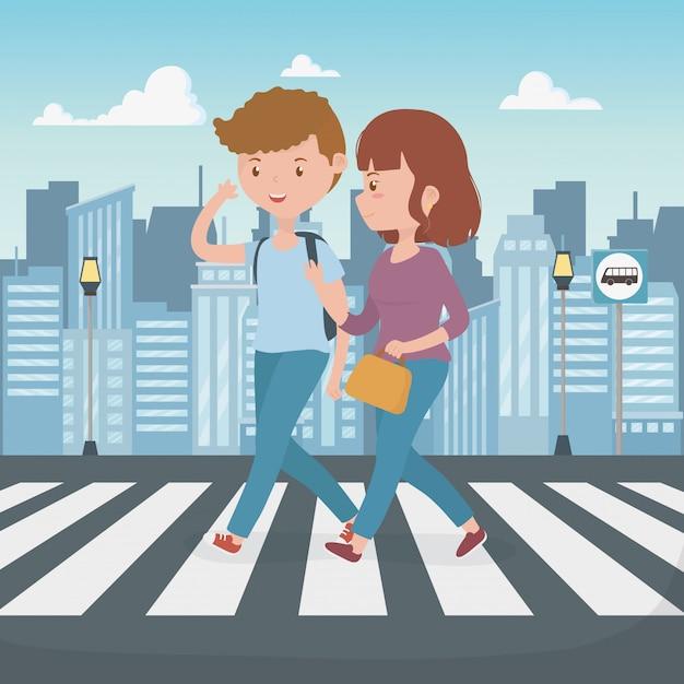 Jeune Couple Marchant Dans La Rue Personnages Vecteur gratuit
