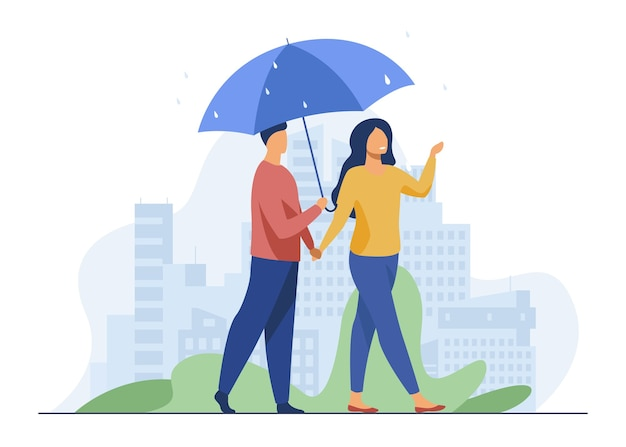 Jeune Couple Marchant Sous Le Parapluie En Jour De Pluie. Ville, Date, Illustration Vectorielle Plane Rue. Météo Et Mode De Vie Urbain Vecteur gratuit